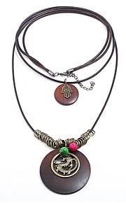 Damskie Circle Shape Kształt Wyrazista biżuteria Modny Nowoczesne Warstwy Naszyjniki , Drewniany Sznur Stop Warstwy Naszyjniki Formalny