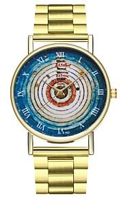 Homens Mulheres Relógio de Moda Relógio Casual Chinês Quartzo Cronógrafo Mostrador Grande Aço Inoxidável Banda Vintage Colorido Dourada