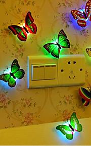 10pcs Sommerfugl LED Night Light Knapp batteridrevet Dekorasjon Fargeskiftende