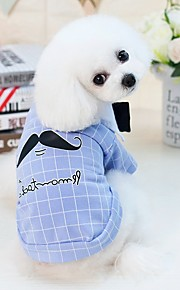 Dogs Cats Furry Small Pets Pets Shirt / T-Shirt Dog Clothes Person Letter & Number Cartoon Yellow Blue Cotton / Polyester Costume For Pets