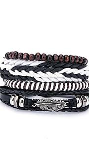 Herre Wrap Armbånd , Mode Europæisk Læder Sort Uregelmæssig Smykker Gave Daglig Kostume smykker