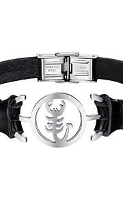 Herre Læder Armbånd Mode Rustfrit Stål Læder Sort Kanin Skorpion Smykker Daglig Kostume smykker