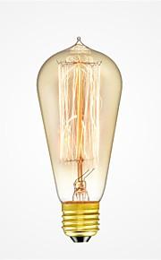 1pc 40W E26/E27 ST58 Varm hvit 2200-2700k K Kontor / Bedrift Mulighet for demping Dekorativ Glødende Vintage Edison lyspære 220V-240V