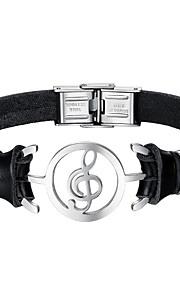 Herre Læder Armbånd Mode Rustfrit Stål Læder Sort Musiknode Smykker Daglig Kostume smykker