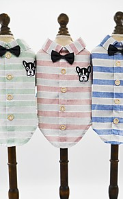 Dogs Cats Pets T-shirts Dog Clothes Patterned Cartoon Animal Green Blue Pink Cotton / Polyester Costume For Pets Male Birthday British