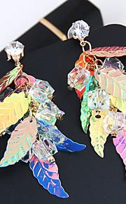 Damskie Frędzel Kolczyki wiszące - Leaf Shape Europejski, Modny, Kolorowy Gold Na Impreza / bal
