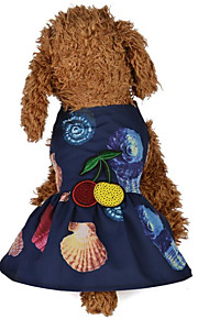 Dogs / Cats Dress Dog Clothes Floral / Botanical / Reactive Print / Flower / Floral Dark Blue / Pink Terylene Costume For Pets Female One Piece / Dresses&Skirts