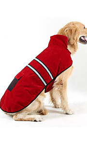 Dogs / Cats Puffer / Down Jacket Dog Clothes Stripe Red Plush Fabric Costume For Pets Unisex Ordinary / Leisure