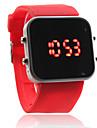 실리콘 밴드 여성 남성 남여 젤리 스포츠 스타일의 사각 거울 주도 손목 시계 - 레드
