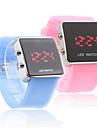 bande en silicone amour couple gelée de sport style conduit montre-bracelet - bleu clair et rose