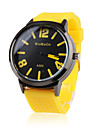 силиконовой лентой классический большой набор моды кварца женщины мужчины случайные часы - желтый