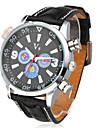 Men's Casual Style Colorful Dial Black PU Band Quartz Wrist Watch Cool Watch Unique Watch