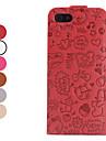 мультфильм шаблон складной кожаный чехол для iphone 5/5s (разных цветов)