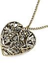 Bronze Alloy Femmes creux Aimer Collier Coeur long avec des fleurs