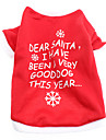Dog Shirt / T-Shirt Red / White Spring/Fall Letter & Number / Snowflake Christmas