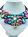 Women\'s Shape Colorful Handmade Fashion Statement Necklace Resin Rhinestone Imitation Diamond Alloy Statement Necklace Wedding Party Daily
