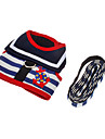 Dog Harness Leash Adjustable / Retractable Stripe Textile Red Blue White/Red White/Blue