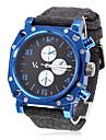 мужской синий квадрат группа случай ткань Кварцевые аналоговые наручные часы