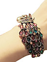 Colorful Cristal Embutidos Alloy Bracelet Bangle Peacock da Mulher