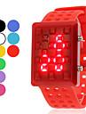 Мужская полые Стиль светодиодный цифровой наручные часы резиновые (разных цветов)