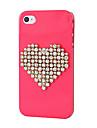Plastic Zircon Heart Pattern Hard Case for iPhone 4/4S
