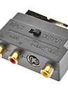 SCART Macho para RCA Composite Adapter Feminino S-Video Áudio