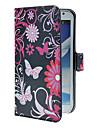 Para Samsung Galaxy Note Porta-Cartão / Com Suporte / Flip / Estampada Capinha Corpo Inteiro Capinha Borboleta Couro PU Samsung Note 2