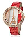 Eiffel Padrão PU Banda Analógico Quartz Relógio de pulso das mulheres (cores sortidas)