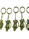 Distinctive Style Owl Shaped Metal Keychain(Random Color)