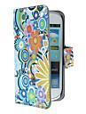 Flores requintados e Circles Padrão Capa de Couro PU com fecho magnético e slot para cartão de Samsung Galaxy S3 mini-I8190