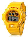 남녀 공통 자동적 인 디지털 방식으로 고무 손목 시계 (옐로우 밴드)