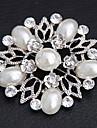 Women's  Flower Shaped Pearl Inlaid Brooch