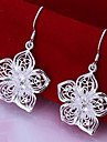 Women's Drop Earrings Silver Plated Alloy Flower Jewelry For Party Daily
