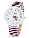 Women's Round Dial Stripe Pattern PU Band Quartz Analog Wrist Watch (Assorted Colors) Cool Watches Unique Watches