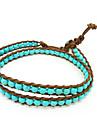 Style Vintage Amitié tissage en cuir PU 2 Wrap Bracelet Avec Turquoise (CLJ-B-167)