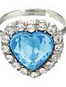 Cristal de safira Coração do Oceano anel