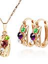 Изысканная мода Прекрасная Кристалл ожерелье и серьги комплект ювелирных изделий Оптовая