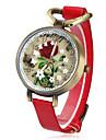 женская цветочный узор старинные случай PU Группа Кварцевые аналоговые наручные часы (разные цвета)