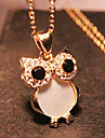 Women\'s Owl Shape Vintage Cute Style Fashion European Pendant Necklace Long Necklace Rhinestone Shell Alloy Pendant Necklace Long Necklace