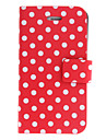 Dots rodada PU caso de corpo inteiro com suporte para iPhone 4/4S (cores sortidas)