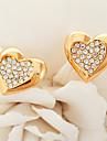U7® 18K Real Yellow Gold Plated Austrian Rhinestone Heart Earrings
