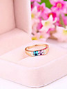 South Korean Small Fresh Colored Square Gemstone Jewelry Finger Ring Ring R709