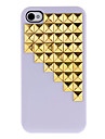 Golden Square Rivets Covered Down Stairs Pattern Hard Case with Glue for iPhone 4/4S (Assorted Colors)
