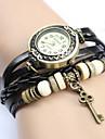 Women's Vintage Key Pendant Style Leather Band Quartz Analog Bracelet Watch (Assorted Colors) Cool Watches Unique Watches