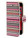 붉은 색조 아즈텍 다채로운 줄무늬 패턴 PU 몸 전체 카드 구멍을 가진 케이스와 아이폰 5C를위한 대