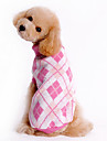 Dog Sweater Dog Clothes Plaid/Check Blue Pink Costume For Pets