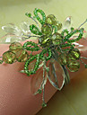 Green Floral Acrylic Beads Napkin Ring, Dia4.2-4.5cm Set of 12