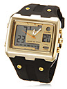 Men's Multi-Functional Analog-Digital Big Square Dial Rubber Band Wrist Watch (Assorted Colors)