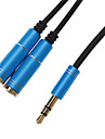 Fone de ouvido 3.5mm Male to Female 2 Splitter Azul Cable (0,3 M)