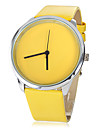 Women's Casual Style Yellow PU Band Quartz Wrist Watch Cool Watches Unique Watches